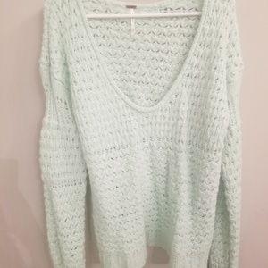Mint Green Free People Crashing Waves Sweater